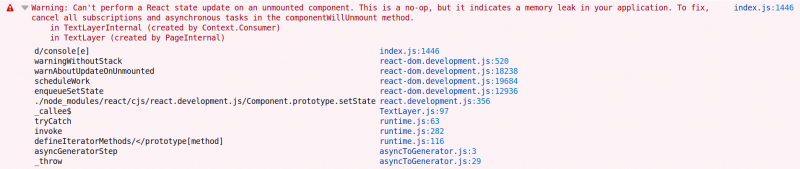 Can't perform a React state update on an unmounted component